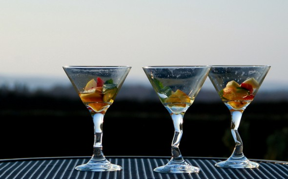 Empty Martini Glasses by Marlon Bunday